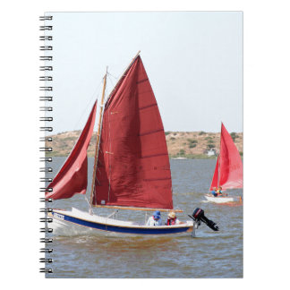 Wooden sail boat spiral notebook