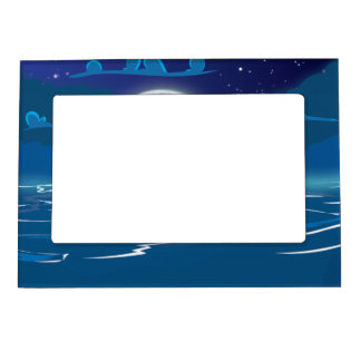 Wooden Sail ship voyage in the moonlight Magnetic Frame