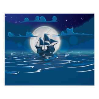 Wooden Sail ship voyage in the moonlight Poster