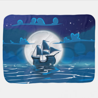 Wooden Sail ship voyage in the moonlight Swaddle Blanket