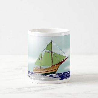 Wooden Sailboat Coffee Mug