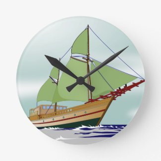 Wooden Sailboat Round Clock
