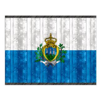 Wooden Sammarinese Flag Postcard