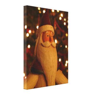 Wooden Santa Decoration Canvas Print