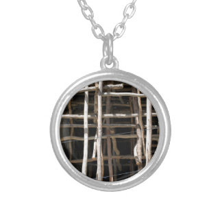 Wooden Scaffold Round Pendant Necklace