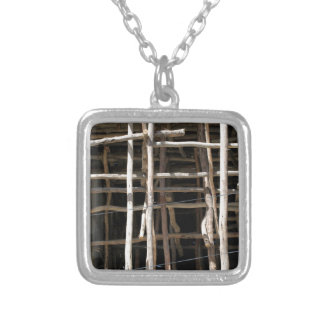 Wooden Scaffold Square Pendant Necklace
