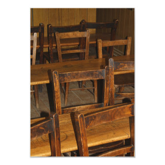 Wooden School Desk and Chairs Invitation