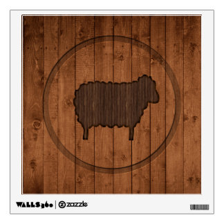 Wooden Sheep Square Wall Sticker