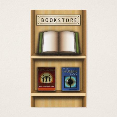 Open Book on a Bookshelf Bookstore Business Cards Template