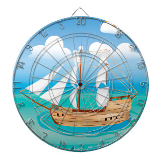 Wooden Ship in the Sea 2 Dart Boards