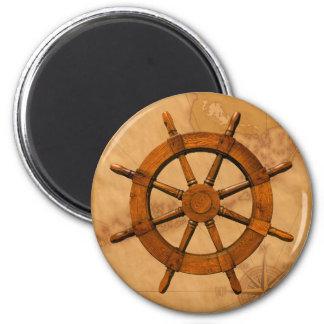 Wooden Ship Wheel 2 Inch Round Magnet