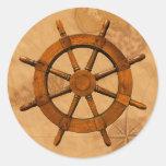 Wooden Ship Wheel Classic Round Sticker