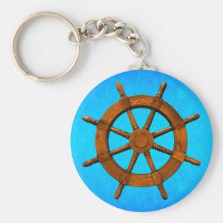 Wooden Ship Wheel Keychain