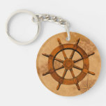 Wooden Ship Wheel Double-Sided Round Acrylic Keychain