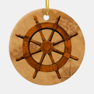 Wooden Ship Wheel Double-Sided Ceramic Round Christmas Ornament