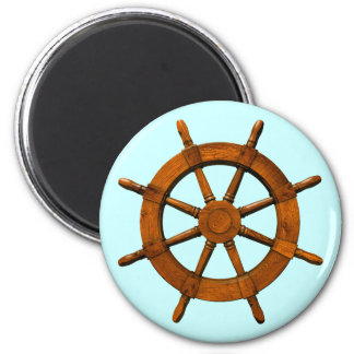 Wooden Ships Helm 2 Inch Round Magnet