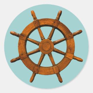 Wooden Ships Helm Classic Round Sticker