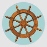 Wooden Ships Helm Round Stickers