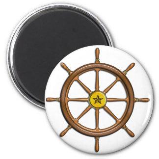 Wooden Ship's Wheel 2 Inch Round Magnet