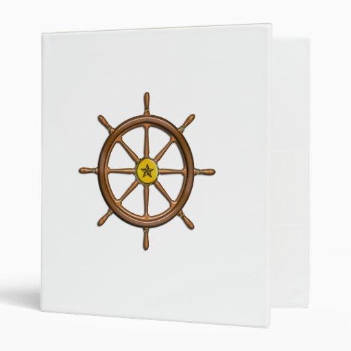 Wooden Ship's Wheel 3 Ring Binders
