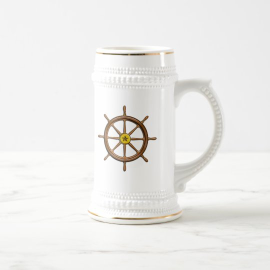 Wooden Ship's Wheel Beer Stein