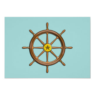 "Wooden Ship's Wheel 5"" X 7"" Invitation Card"