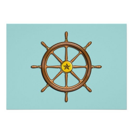 Wooden Ship's Wheel Personalized Announcement