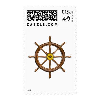 Wooden Ship's Wheel Postage Stamp