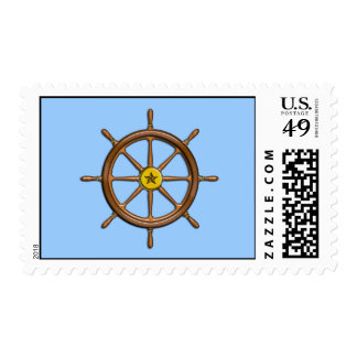 Wooden Ship's Wheel Postage