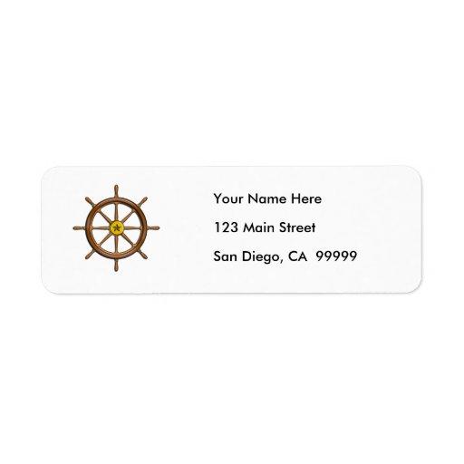 Wooden Ship's Wheel Return Address Label