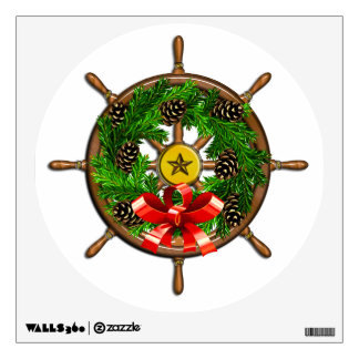 Wooden Ship's Wheel with Evergreen Wreath Wall Decal