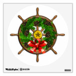 Wooden Ship's Wheel with Evergreen Wreath Wall Graphic