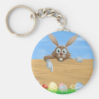 Wooden sign Easter bunny and eggs Key Chain