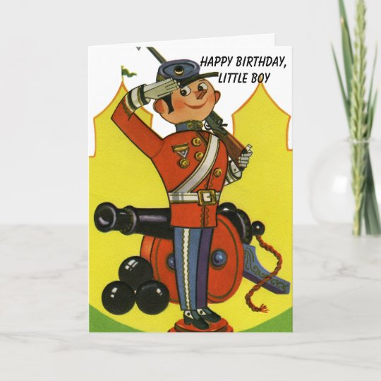 Wooden Soldier With Cannon Happy Birthday Boy Old Card Zazzle