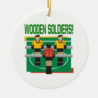 Wooden Soldiers Double-Sided Ceramic Round Christmas Ornament