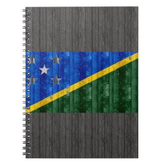 Wooden Solomon Islander Flag Spiral Notebook