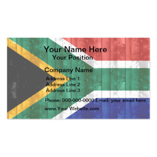 Wooden South African Flag Business Card