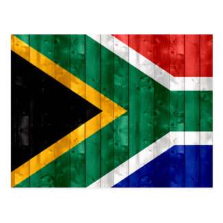 Wooden South African Flag Postcard