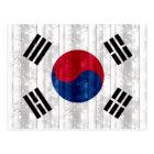 Wooden South Korean Flag Postcard