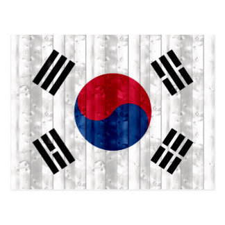 Wooden South Korean Flag Postcard