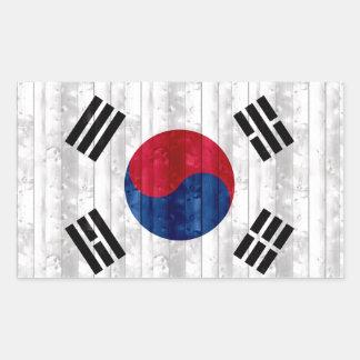 Wooden South Korean Flag Rectangular Stickers