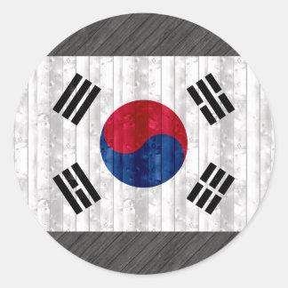 Wooden South Korean Flag Sticker