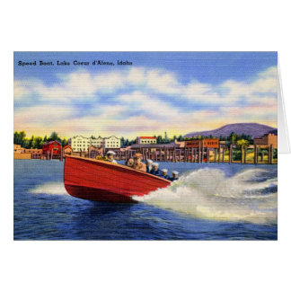 Wooden Speed Boat on Lake Coeur d'Alene, Idaho Card