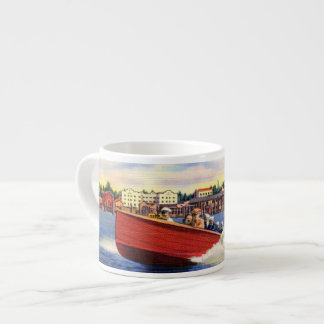 Wooden Speed Boat on Lake Coeur d'Alene, Idaho Espresso Cup