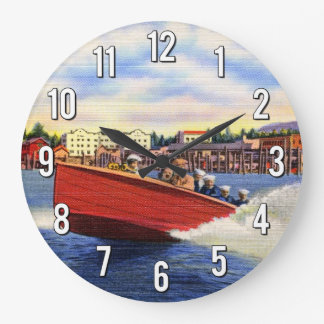Wooden Speed Boat on Lake Coeur d'Alene, Idaho Large Clock