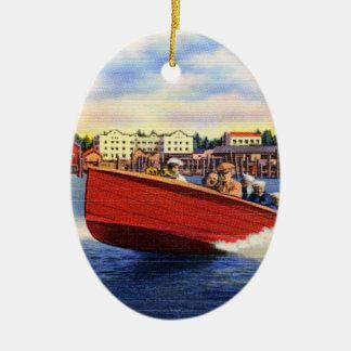 Wooden Speed Boat on Lake Coeur d'Alene, Idaho Christmas Tree Ornament