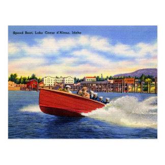 Wooden Speed Boat on Lake Coeur d'Alene, Idaho Postcard