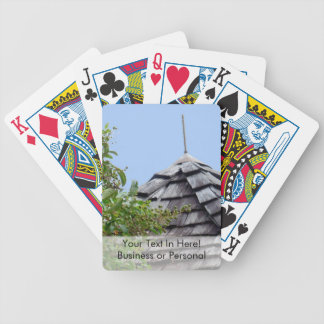 Wooden split shingle cupola sky tree sepia bicycle playing cards