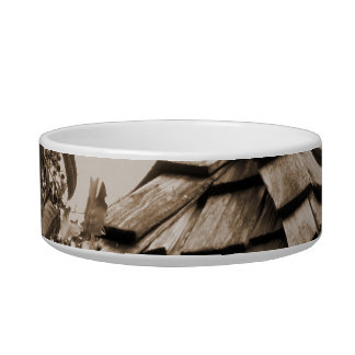 Wooden split shingle cupola sky tree sepia bowl