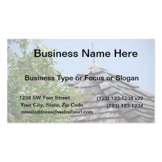 Wooden split shingle cupola sky tree sepia business card template